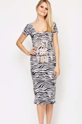 Encrusted Zebra Print Midi Dress