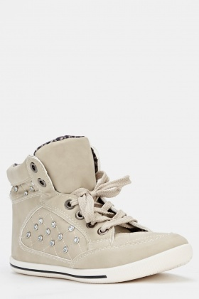 Faux Leather Hi-Top Diamante Trainers