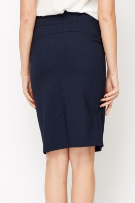 Navy Check Formal Skirt