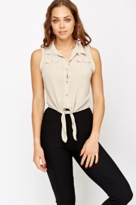 Sleeveless Tie Up Hem Blouse