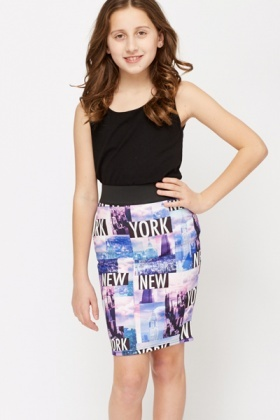 NY Printed Bodycon Skirt