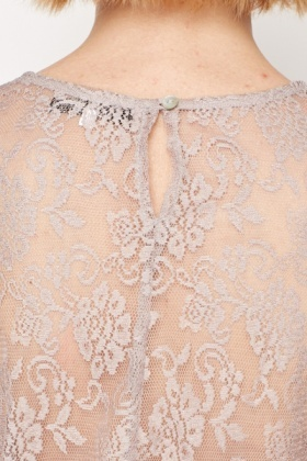 Sheer Lace Underlay Dipped Hem Top