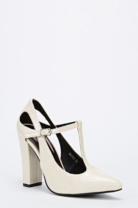 Wet Look Strap Block Heels