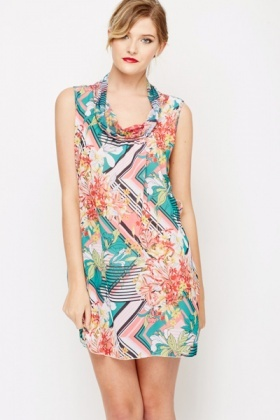 Floral Stripe Cowl Neck Dress