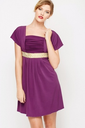 Ruched Bust Embellished Dress