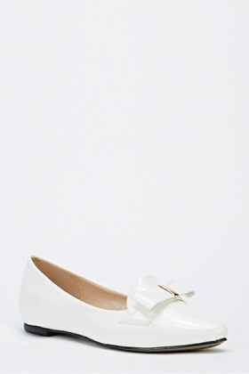 Wet Look Bow Front Slip On Shoes
