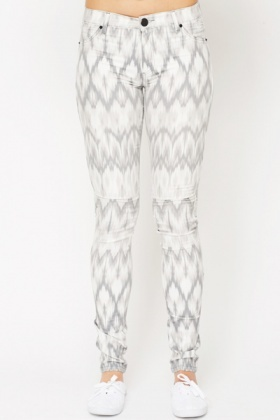 Grey Burn Out Print Jeans