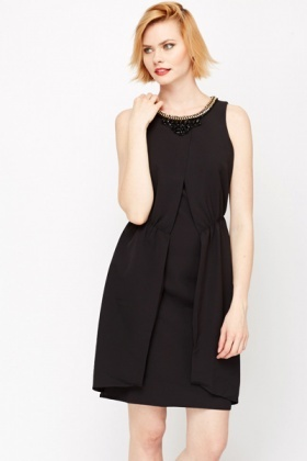 Open Front Encrusted Neck Dress