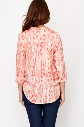 Dip Hem Silk Feel Blouse