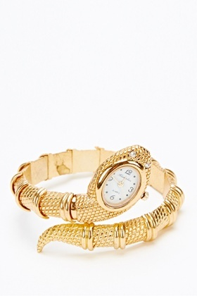 Gold Snake Head Bangle Watch