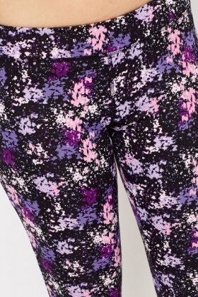 Gym Splash Paint Print Cropped Trousers