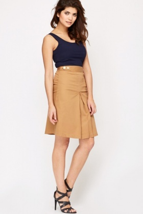 High Waisted Front Pleat Skirt
