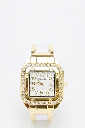 Two Toned Diamond Square Bangle Watch