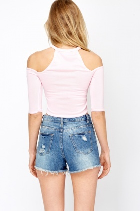 High Neck Cut Out Shoulder Crop Top