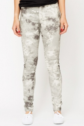 Oil Abstract Slim Fit Jeans