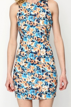 Sleeveless Floral Print Bodycon Dress