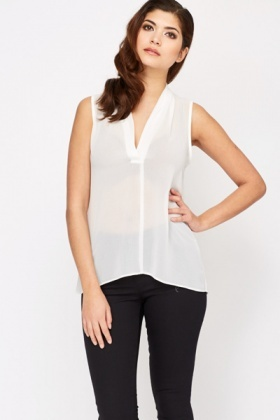 V-Neck Sheer Blouse