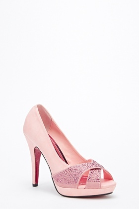 Encrusted Front Crossover Heels