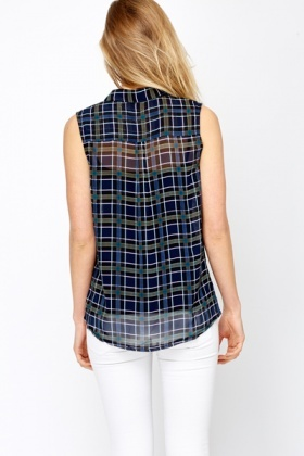 Check Perforated Sleeveless Blouse