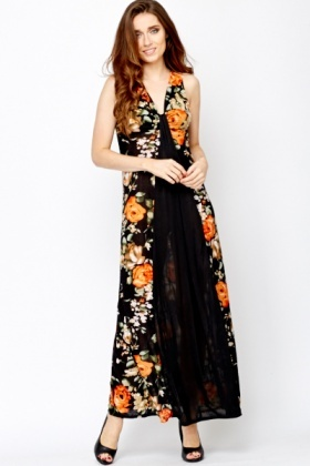 Floral Sheer Front Maxi Dress