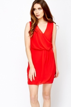 Layered Wrap Front Red Dress