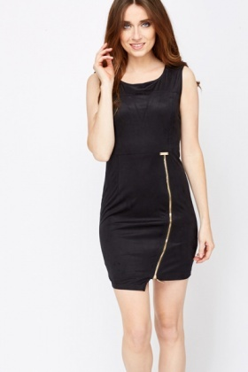 Suedette Zip Front Shift Dress