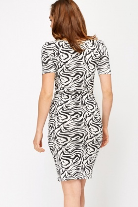 Zebra Print Cotton T-Shirt Dress