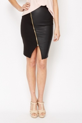 Black Zip Front Faux Leather Skirt
