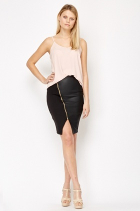 Black Zip Front Faux Leather Skirt - Just £5