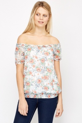 Sheer Floral Peasant Blouse