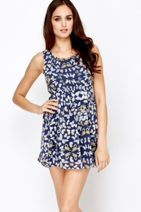 Butterfly Print Navy Skater Dress
