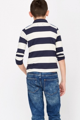 Contrast Stripe Boys Top