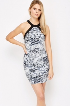 Contrast Trim Mock Croc Bodycon Dress