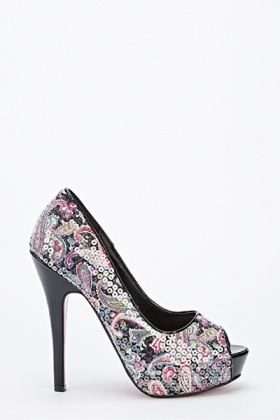 Paisley Print Peep Toe Shoes