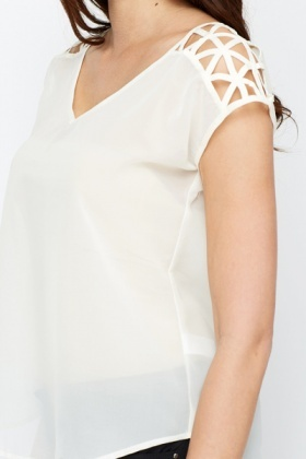 Cut Out Shoulder Sheer Blouse