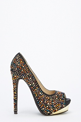Multi Diamante Peep Toe Heels