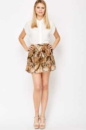 Pleated Animal Print Mini Skirt
