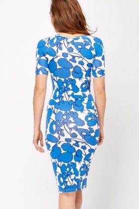 Wild Floral Print Bodycon Dress