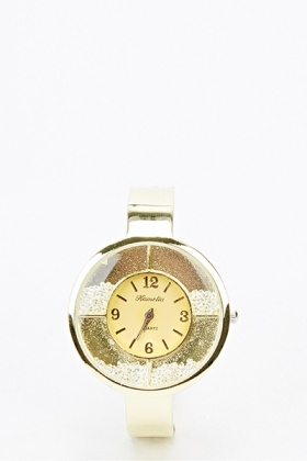 Contrast Round Face Bangle Watch