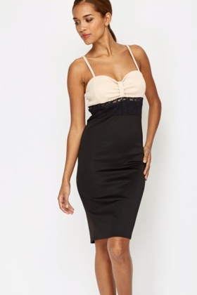 Lace Trim Contrast Bodycon Dress