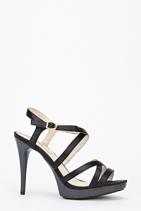 Sateen Crossover Strap Stiletto Sandals