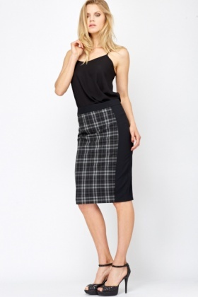 Check Contrast Pencil Skirt