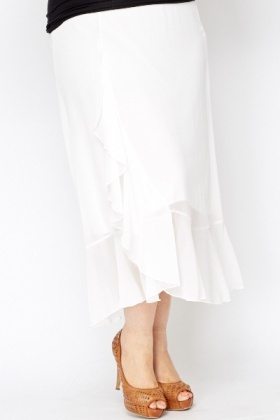 Ruffle Hem Sheer Skirt