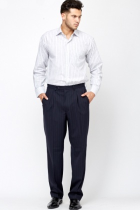 Stripe Navy Trousers