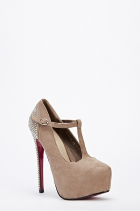 Diamante Back Suedette Heels