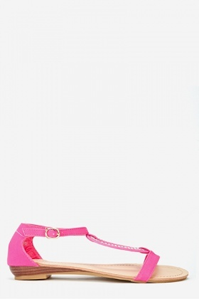 Diamante Encrusted Fuchsia Sandals
