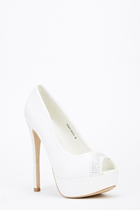 Diamante Trim Peep Toe Heels