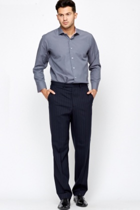 Pinstripe Navy Trousers