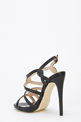 Textured Strappy Sandal Heels