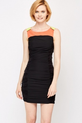 Colour Block Ruffle Front Dress